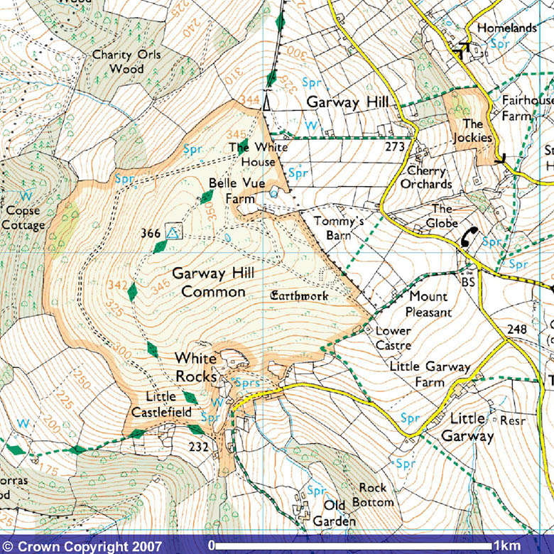 Garway Hill 25000 OS Map